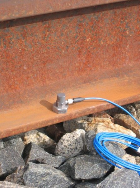 Acceleration sensor attached to a rail